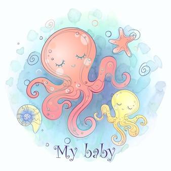 Maman octopus avec un enfant en bas âge. douche de bébé.