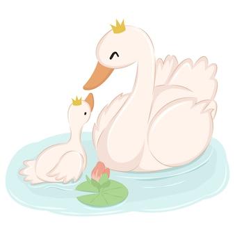 Maman oie et bébé oie