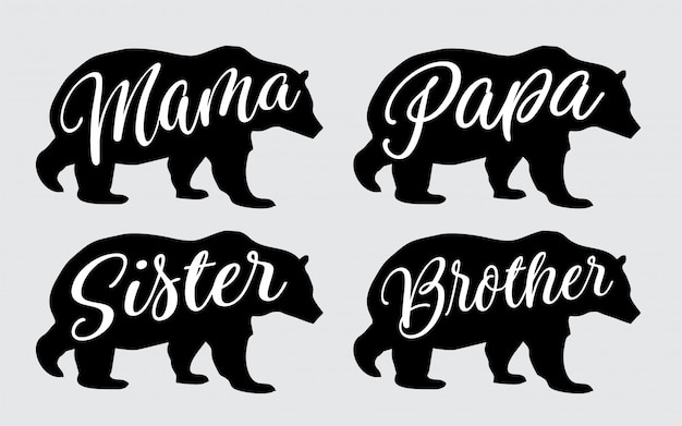 Maman papa sœur frère ours lettrage