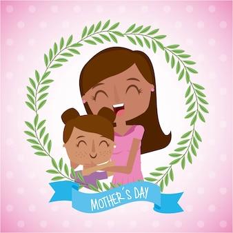 Maman et petite fille en guirlande de fleurs fête des mères