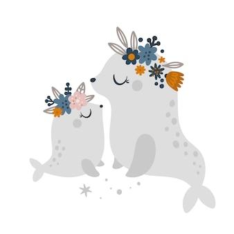 Maman phoque et bébés animaux animaux marins avec couronne de fleurs