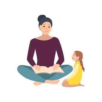 Maman et sa fille assise sur le sol et lisant le livre ensemble. mère racontant un conte de fées à sa petite fille. adorables personnages de dessins animés isolés sur fond blanc. illustration de couleur plate