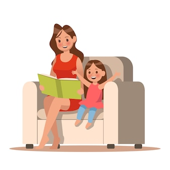 Maman et sa fille lisant un livre