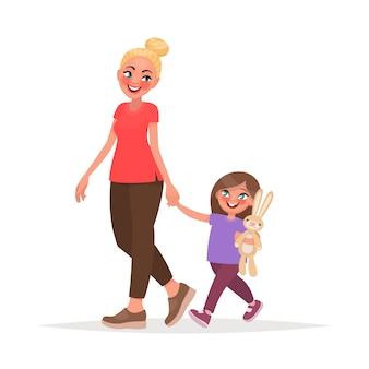 Maman et sa fille marchent ensemble. illustration vectorielle en style cartoon