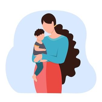 Maman avec son fils dans ses bras. élément de design. concept d'amour familial et de garde d'enfants