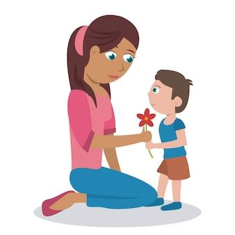 Maman son fils fleur adorable