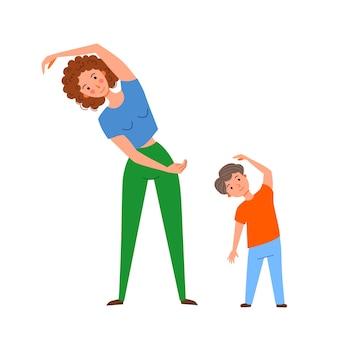 Maman et son fils font du yoga en faisant des virages latéraux