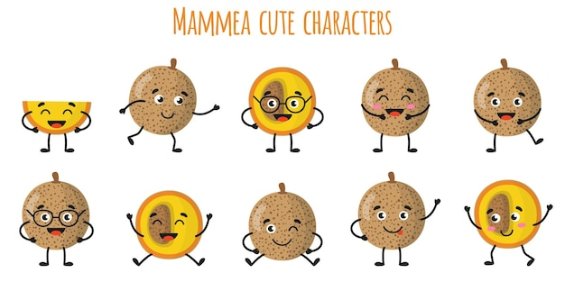 Mammea fruits mignons personnages gais drôles avec différentes poses et émotions