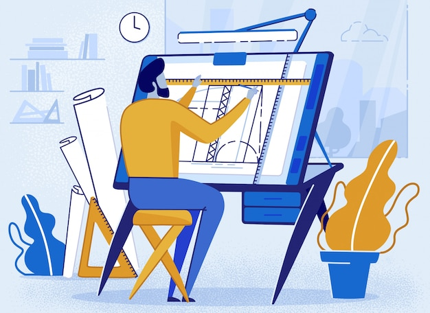 Man architect creator dessin au bureau pour sketch
