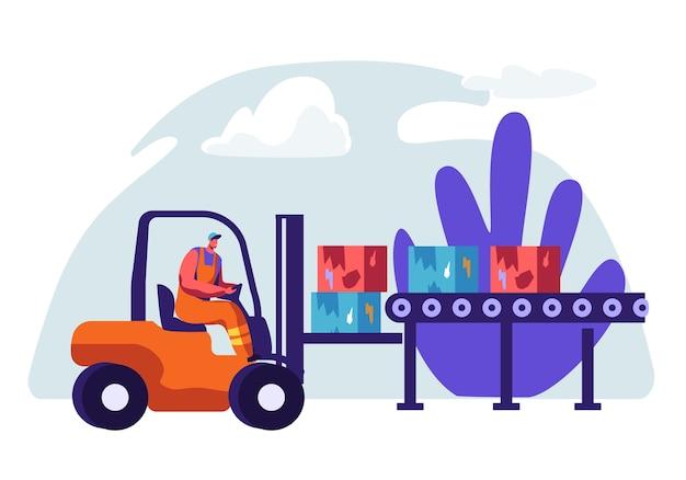 Man collector nettoyage des ordures dans la voiture des ordures. nettoyage de l'environnement de l'illustration du concept de déchets