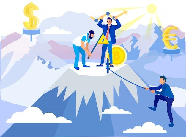 Man conquers summit. travail d'équipe à buisness.