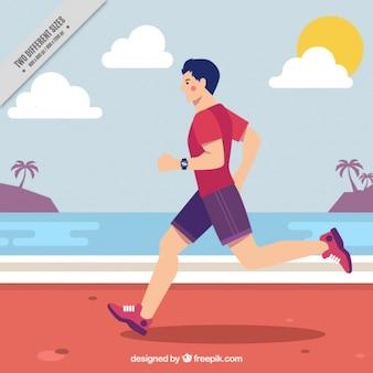 Man courir sur la plage