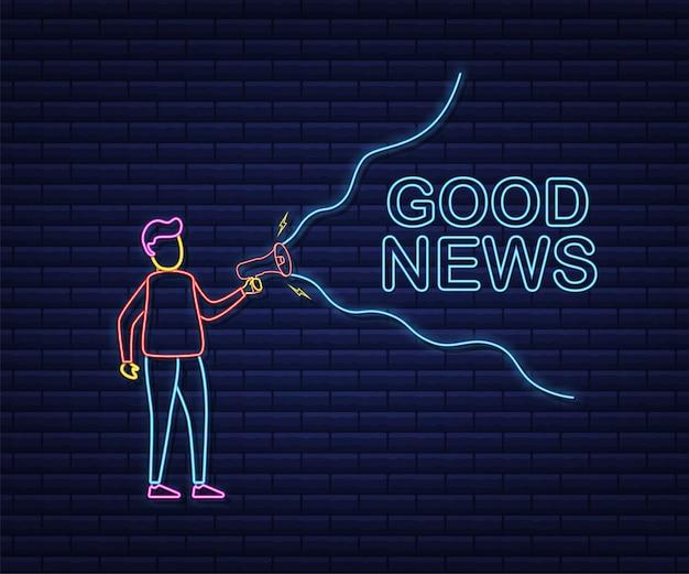 Man holding megaphone avec de bonnes nouvelles. bannière mégaphone. création de sites web. style néon. illustration vectorielle de stock.