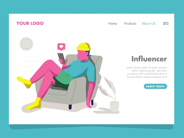 Man influencer illustration pour landing page