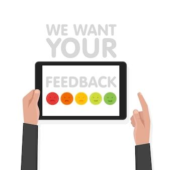 Man main tenir la tablette tactile avec signe que nous voulons vos commentaires. illustration vectorielle