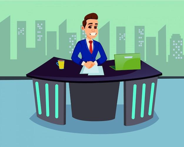 Man news anchor character broadcasting news à la télévision