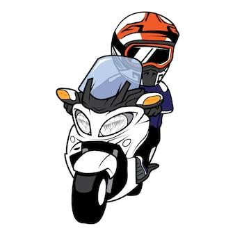 Man ride big cartoon moto scooter