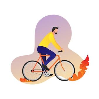 Man ride vélo caractère vector design vue de côté - illustration moderne