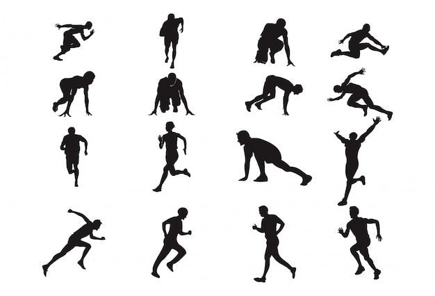 Man run silhouette element element athletics sport pose