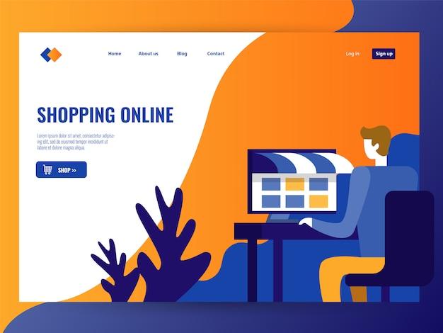 Man shopping sur le magasin en ligne.