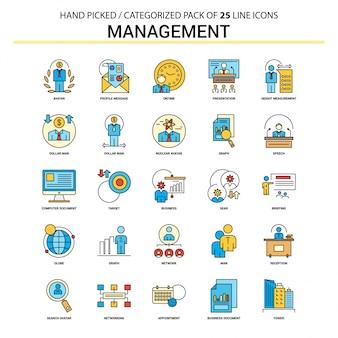 Management flat line icon set