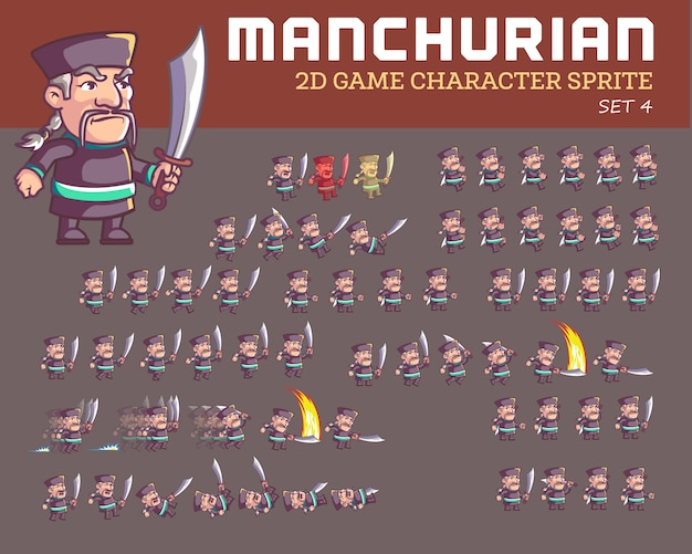 Manchurian warrior cartoon jeu personnage animation sprite