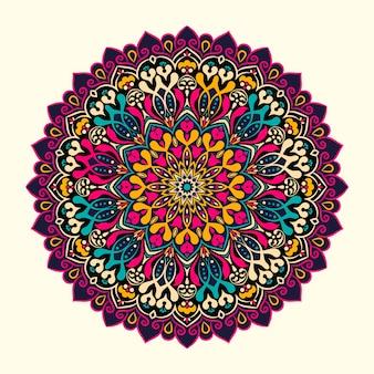 Mandal coloré avec de belles formes florales ornées fond sombre
