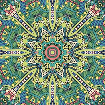 Mandala d'art floral de vecteur médaillon décoratif de printemps et d'été