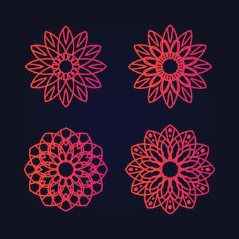 Mandala art ornement floral ethnique dégradé couleur