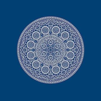 Mandala blanc délicat ethnique sur bleu