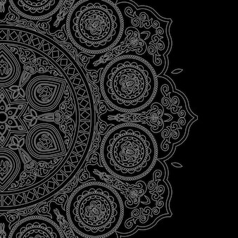 Mandala blanc délicat style boho sur fond noir