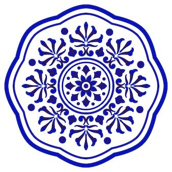 Mandala bleu et blanc, bordure ronde ornement floral abstrait