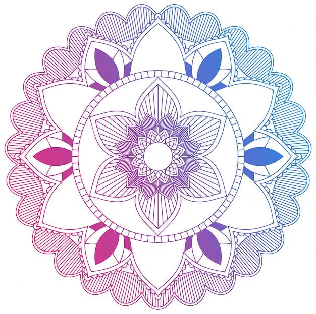 Mandala bleu et fleur rouge