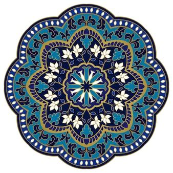 Mandala Bleu Oriental. Vecteur Premium