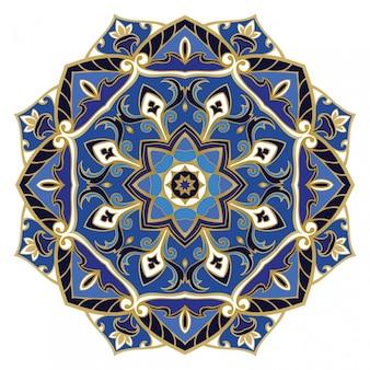 Mandala bleu orné.
