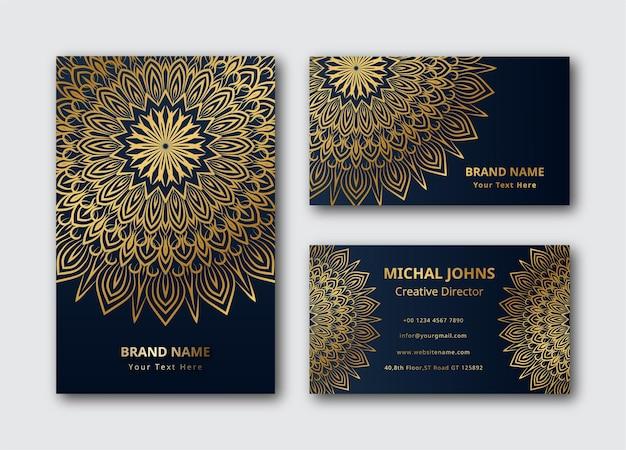 Mandala carte de visite mandala fond or couleur design