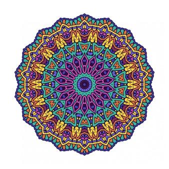 Mandala de cercle rond coloré avec style ethnique
