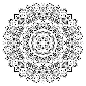 Mandala circulaire, mehndi. ornement décoratif dans un style oriental ethnique.