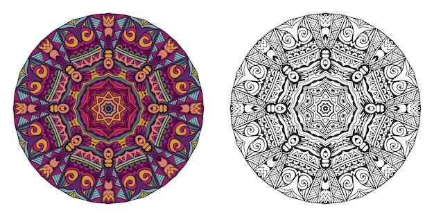 Mandala coloré et contour pour cahier de coloriage.