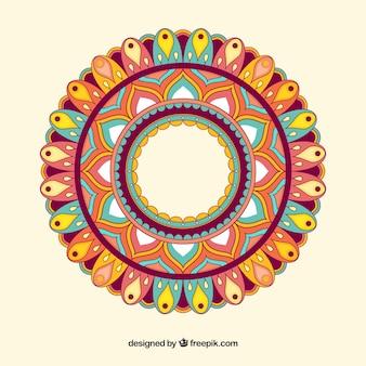 Mandala coloré dans un style plat