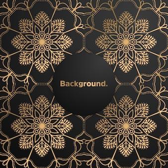 Mandala coloré de fond d'or de luxe