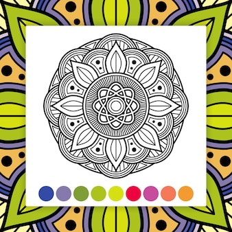 Mandala à colorier. elément décoratif asiatique et oriental
