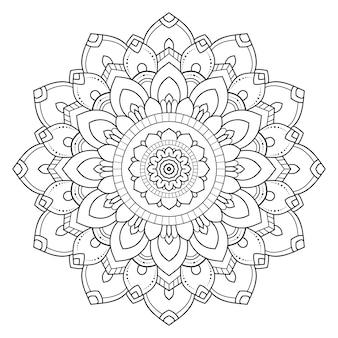 Mandala contour ornement rond décoratif.