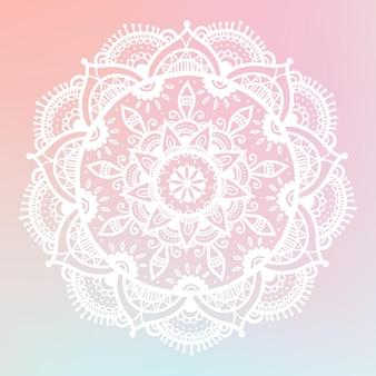 Mandala dégradé rond sur fond isolé blanc. mandala boho de vecteur dans des couleurs pastel. mandala aux motifs floraux. modèle de yoga