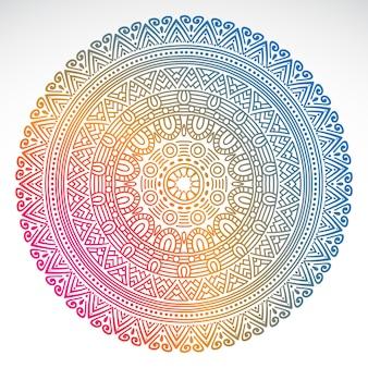 Mandala dégradé rond sur fond isolé blanc