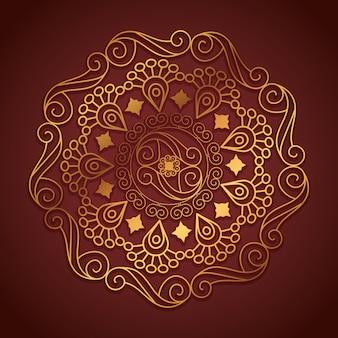 Mandala design avec couleur dorée