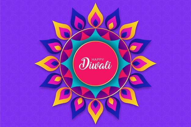 Mandala design, fond de joyeux diwali rangoli