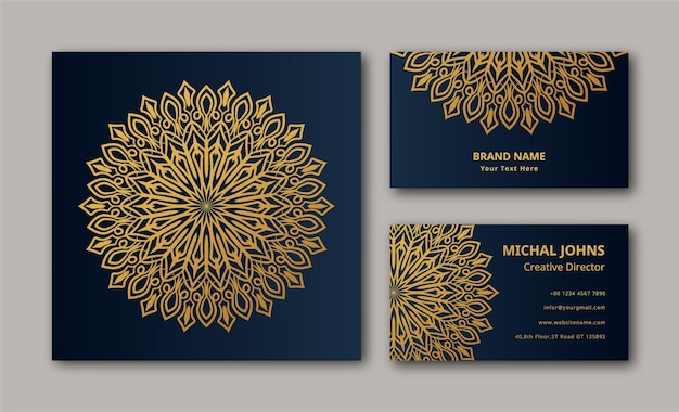 Mandala design fond vecteur carte de visite