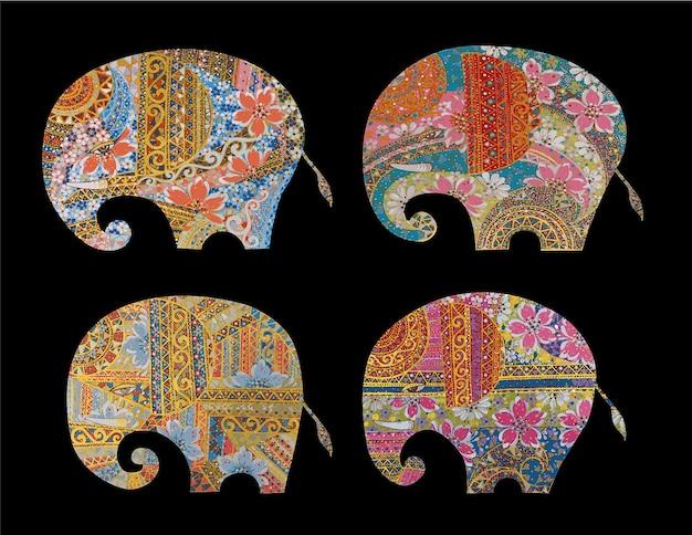 Mandala de dessin animé d'art d'éléphant