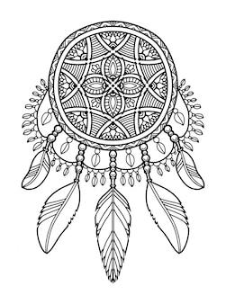 Mandala dream catcher étiquette de livre à colorier
